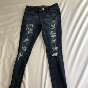 ❣️ AMERICAN EAGLE dark distressed ripped jeans !